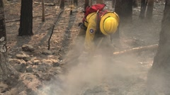 Firefighter with polaski digging hot spots Stock Footage