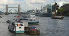 Elegant ship sails towards Tower bridge in London 4K - stock footage