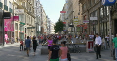 Vienna Wien city Austria austrian old town people crowd shopping Karntner street Stock Footage