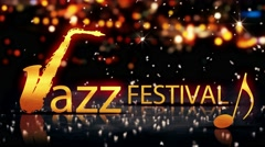 Jazz Festival Saxophone Gold City Bokeh Star Shine Yellow 3D Loop Animation - 4K Stock Footage