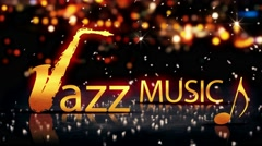 Jazz Music Saxophone Gold City Bokeh Star Shine Yellow Loop Animation - 4K Stock Footage