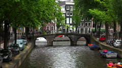Romantic view from Leidsegracht to Gentlemens canal in Amsterdam - stock footage