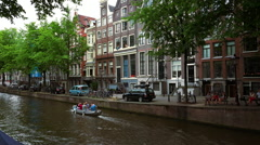 Romantic Leidsegracht in Amsterdam film location of The Fault in our stars - stock footage