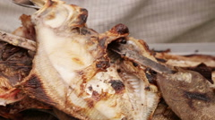 Dish with fried sea fish Stock Footage