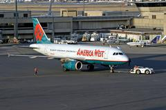 America West Airlines airplane Stock Photos