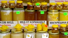 Sold bee honey and honey products. Stock Footage