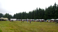 Tourism fair. Many people in mountain Stock Footage