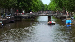 The bridges of Amsterdam with lots of bikes attached - stock footage