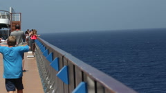 Side of cruise ship out at sea Stock Footage