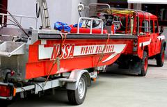 boat of the italian fire department for rescue during floods - stock photo