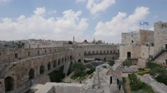Jerusalem 4K David tower museum yard 25P Stock Footage