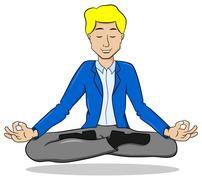 Businessman meditating in lotus position and floating Stock Illustration