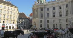 Hofburg palace Vienna Wien Austria tourists horse horses carriage architecture - stock footage