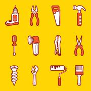 tools icon set - stock illustration