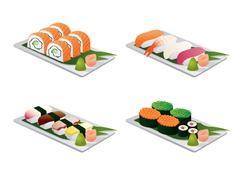 Sushi set on dish - stock illustration