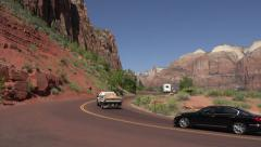 Zion National Park traffic up scenic road 4K 156 Stock Footage