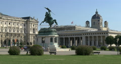 Vienna Austria Hofburg National Library Equestrian statue of Archduke Charles Stock Footage