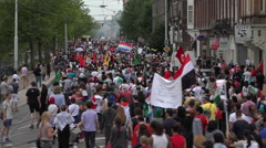 Huge political demonstration protest march in the streets of Amsterdam - stock footage