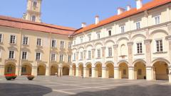 Vilnius University buildings in the old town of Vilnius in Lithuania Stock Footage