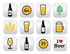 Beer colorful vector buttons set - bottle, glass, pint Stock Illustration