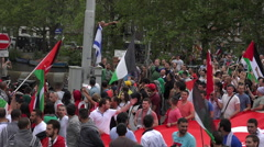 Huge political Free Gaza demonstration in the streets of Amsterdam Stock Footage