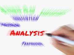 Analysis words on whiteboard displays analyzing examining and checking data Stock Illustration