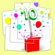 Number ten surprise box displays numerical toy or adornment Stock Illustration
