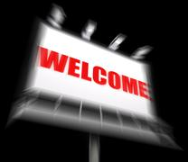 welcome sign displays hospitality entrance and admittance - stock illustration