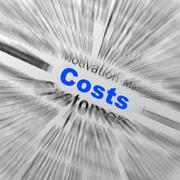 Costs sphere definition displays financial management or costs reduction Stock Illustration