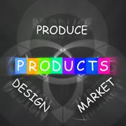 Companies design displays produce products and market them Piirros