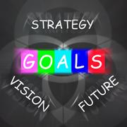 Words displays vision future strategy and goals Stock Illustration