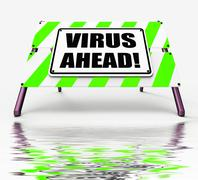 Virus ahead displays viruses and future malicious damage Stock Illustration