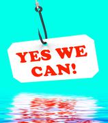 Yes we can! on hook displays teamwork and optimism Stock Illustration