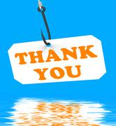 Thank you on hook displays gratefulness and gratitude Stock Illustration
