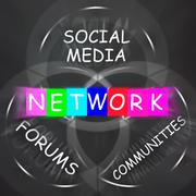 network words displays forums social media and communities - stock illustration