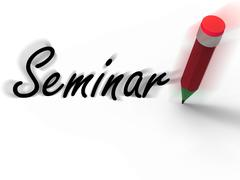 Seminar with pencil displays written appointment for a business conference Stock Illustration