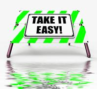 Stock Illustration of take it easy sign displays to relax rest unwind and loosen up