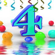 Number four party displays colourful birthday party or celebration Stock Illustration