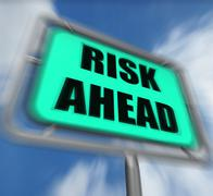 Risk ahead sign displays dangerous unstable and insecure warning Stock Illustration