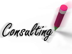 Consulting with pencil displays written consultation and advice Piirros