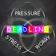 Deadline words displays stress worry and pressure of time limit Stock Illustration