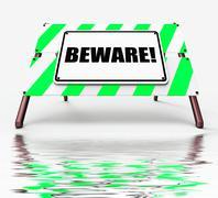 Beware sign displays warning alert or danger Stock Illustration