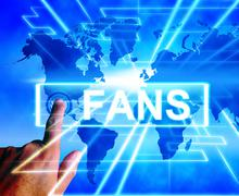 fans map displays worldwide or international followers or admirers - stock illustration