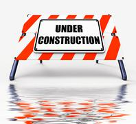 under construction sign displays partially insufficient construct - stock illustration