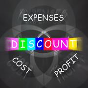 Profit minus cost and expenses displays discount Stock Illustration