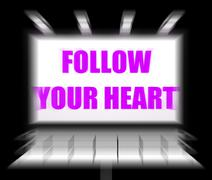 Follow your heart sign displays following feelings and intuition Stock Illustration