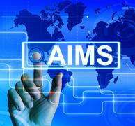 Aims map displays international goals and worldwide aspirations Stock Illustration