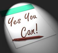 Stock Illustration of yes you can! notebook displays positive incentive and persistence