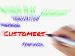 Customers words on whiteboard displays shopper or buyer Stock Illustration