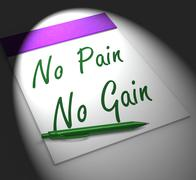 no pain no gain notebook displays hard work retributions and motivation - stock illustration